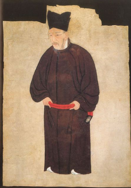 A XII century Chinese gouache and ink portrait