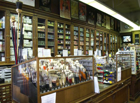 Inside Sennelier's shop: the counter with the most precious brushes