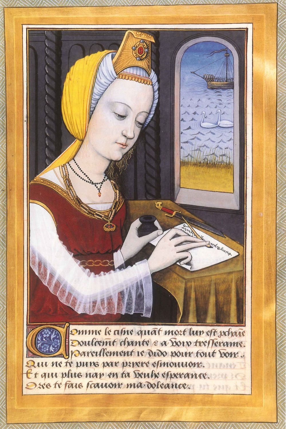 lady writing gouache medieval