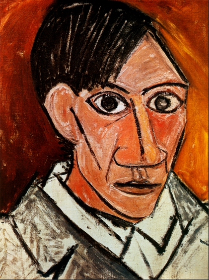 Picasso Sel portrait in oil pastel