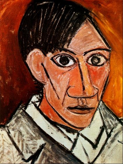 Picasso Sel portrait in oil pastel